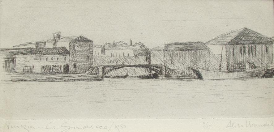 Venezia, La Giudecca - Incisione, 1950