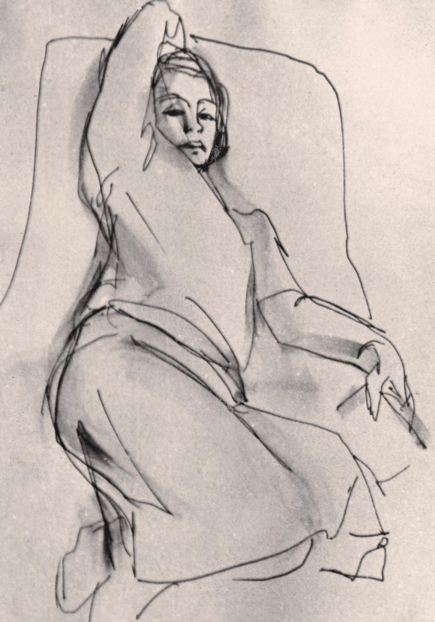 Schizzo di donna - Penna e inchiostro, 1958
